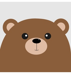 Bear grizzly big head cute cartoon character vector