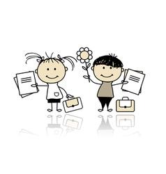 children with school books vector image