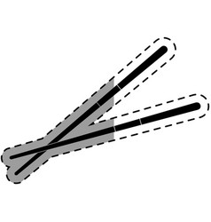 chopstick japanese cutlery icon vector image