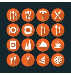 Orange restaurant icons set vector image vector image