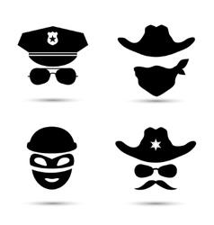 Set of black icons Policeman icon Thief vector image vector image