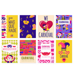 set of eight carnival posters vector image vector image