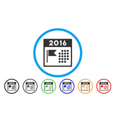 2016 holiday calendar rounded icon vector image