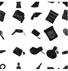 A detective a pistol in a holster a police badge vector