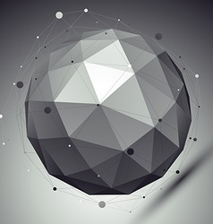 Abstract grayscale 3D sphere with asymmetric grid vector image