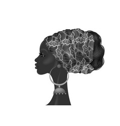 Afro hairstyle beautiful portrait african woman vector