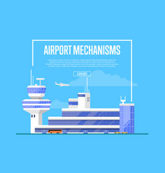 Airport mechanisms poster with trendy air terminal vector