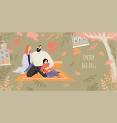 banner inviting to a picnic in autumn garden vector image