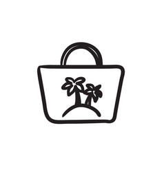 Beach bag sketch icon vector