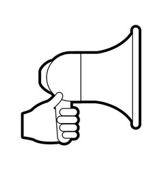 black and white megaphone icon vector image