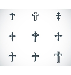 Black christia crosses icons set vector