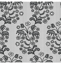 Black lace fabric seamless pattern vector image