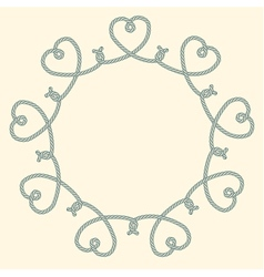 Blue rope decorative round frame vector