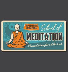 Buddhism meditation zen dharma monk school vector