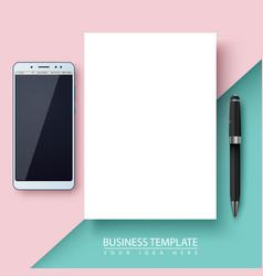 Business template paper smartphone pen vector