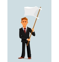 Businessman holds white flag of surrender vector