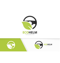 car helm and leaf logo combination vector image