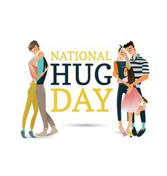 Cartoon big family character hugging winter vector