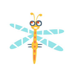 Cartoon funny dragonfly colorful character vector