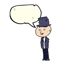 Cartoon funny hobo man with speech bubble vector