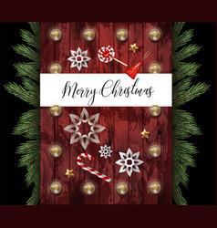 christmas banner or postcard with fir star vector image