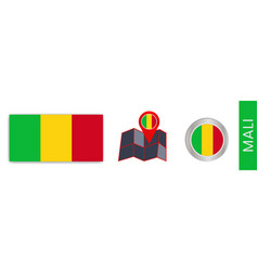 Collection mali national flags isolated vector