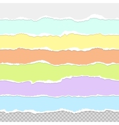 Collection of seamless paper rips multi colored vector image