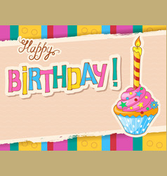 colorful birthday card with festive doodle cupcake vector image