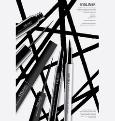 Cosmetic eyeliner with packaging poster design vector