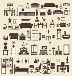 creative design furniture icons set interior- illu vector image