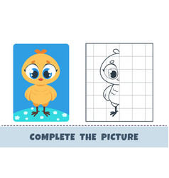 Cute chicken copy picture template for children vector