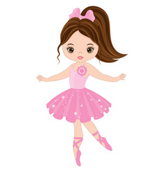Cute little ballerina dancing vector