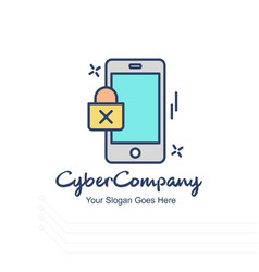 Cyber company mobile logo with white background vector