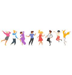 Dancing people silhouette vector