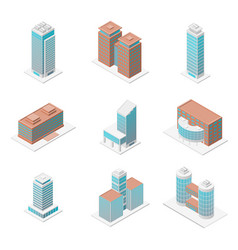 different types office building 3d icons set vector image