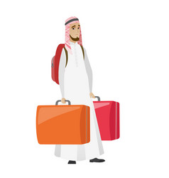 Disappointed tourist holding two big suitcases vector