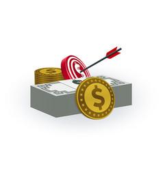dollar coins banknotes target board arrow vector image