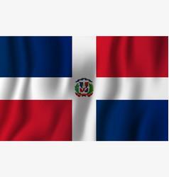 dominican republic realistic waving flag vector image