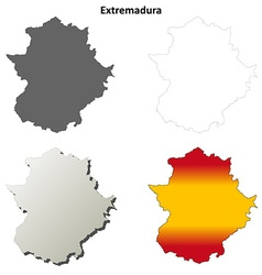 Extremadura blank detailed outline map set vector