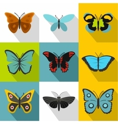 Flying butterfly icons set flat style vector