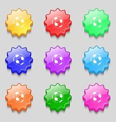 Football icon sign symbol on nine wavy colourful vector