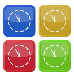 Four square color icons last minute clock vector
