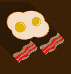 fried eggs and slices of crisp bacon vector image