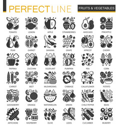 fruits vegetables black mini concept icons vector image