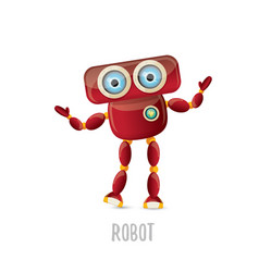 funny cartoon red friendly robot character vector image