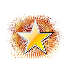 gold star on the red background vector image