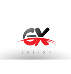 gx g x brush logo letters with red and black vector image