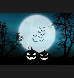 Halloween pumpkins in moonlit foggy landscape vector