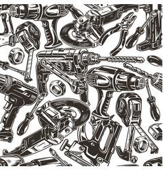 Handyman tools vintage seamless pattern vector