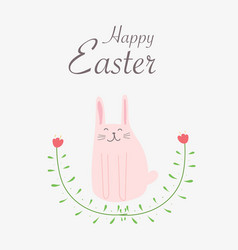 happy easter greeting card with hand drawn bunny vector image
